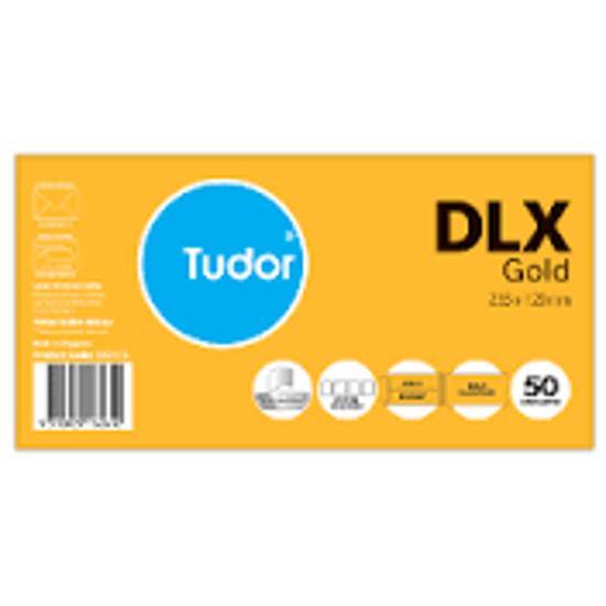 Picture of ENVELOPE TUDOR DLX GOLD PLAINFACE PK50